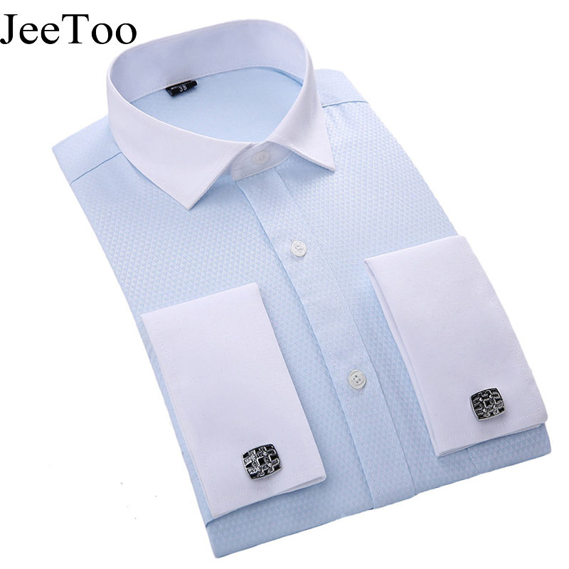 Men French Cufflinks Shirt 2017 New Men's Shirt Long Sleeve ...