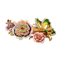 New Luxury Jewelry National Wind Cloisonne Peony Flowers Hairpin Woman Spring Clip Headwear Crab Claw Clip