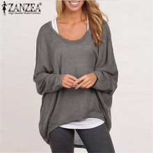 ZANZEA Plus Size Women Blouse 2019 Autumn O-neck Long Sleeve Casual Baggy Tops Solid Batwing Sleeve Shirts Blusas Femininas