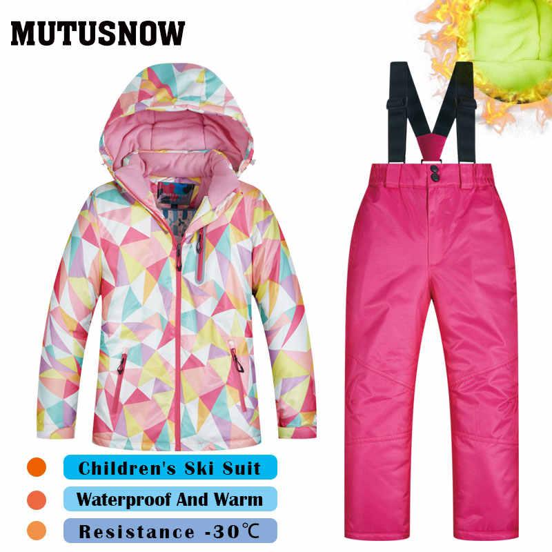 Новый лыжный костюм для девочек, детские бренды высокого качества, ветрозащитный водонепроницаемый для снега, теплые детские зимние комплекты, утепленные сноубордические костюмы, LFSJ