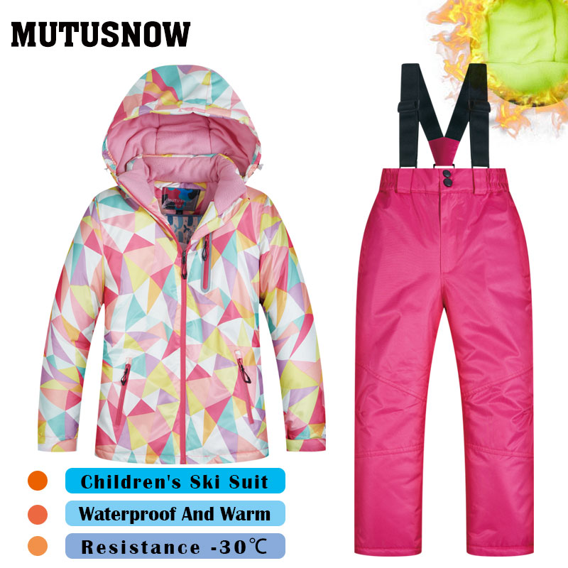 New Ski Suit Girls Children's Brands High Quality Windproof Waterproof Snow Warm Child Winter Sets Thicken Snowboard Suits LFSJ