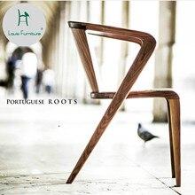 Луи мода обеденный стул твердой древесины спинки Современный простой американский Досуг обсуждения кофе магазин скандинавских