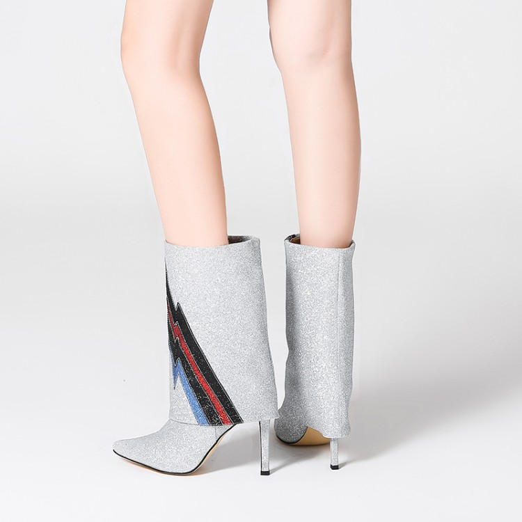 Inside Bottes Pompes Leather Casual fur Inside Pointu Slip Foldover Femmes mollet Sequin On Botas Chaussons Glitter Haute Talons Mujer Bout Mi Bling Catwalk 0wARHqtw