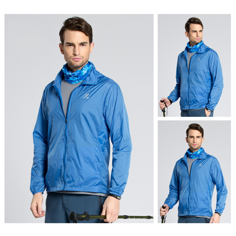 Outdoor Men Fast Drying Breathable UV Waterproof Softshell Ultralight Sunscreen clothes(Royal blue male)