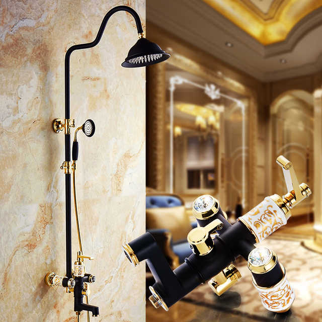 Luxury High Quality Gold & black Bathroom Rainfall Shower Set ...