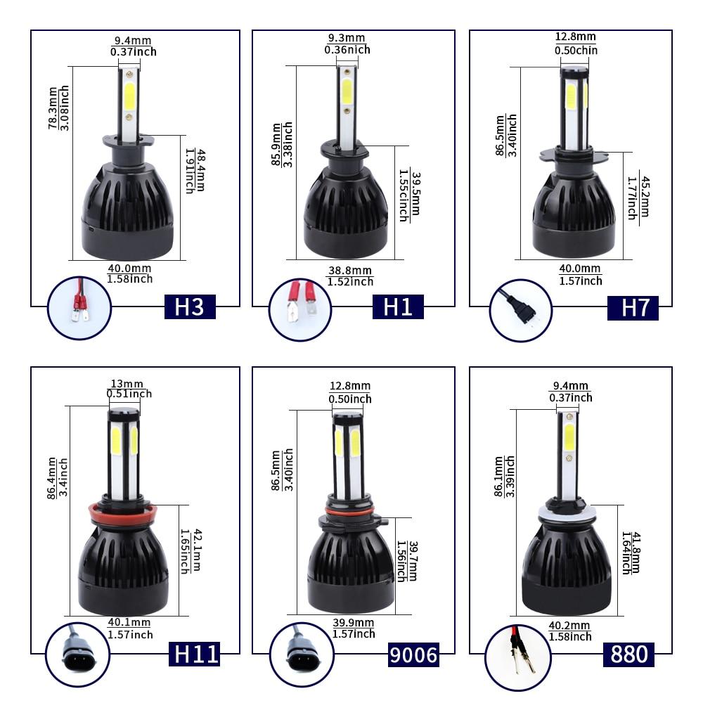 Image 5 - H11 led h7 H1 H3 H11 9005 9006 hb3 hb4 5202 D2 9012 H1R2 auto 4 side led cob h7 Car Light Bulb lamp 12V headlamp headlight 6000k-in Car Headlight Bulbs(LED) from Automobiles & Motorcycles