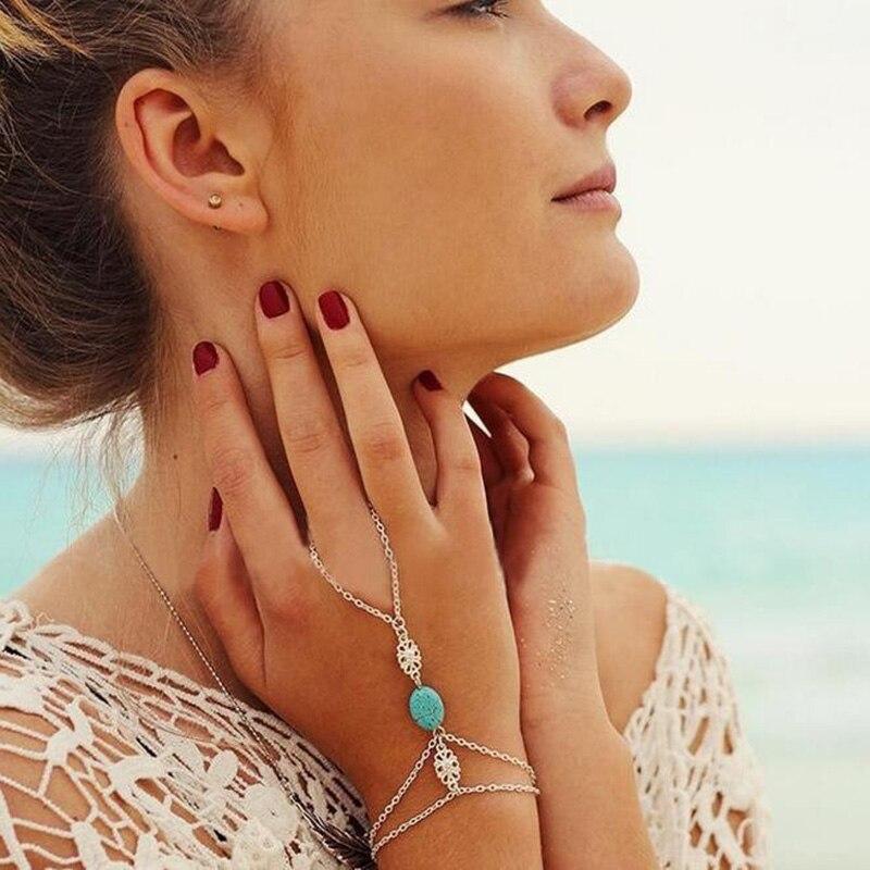 Trendy Zirconia Slave Chain Bracelet For Women Finger Hand Adjust Green Stone Beads Slave Finger Ring Boho Jewelry