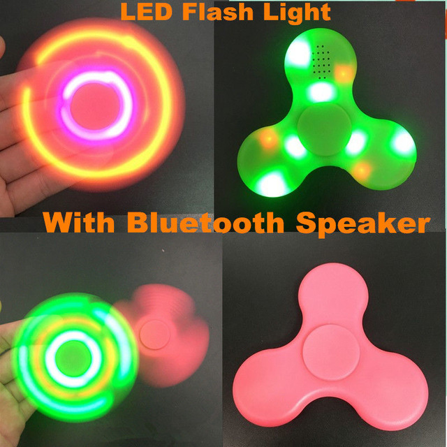 20pcs LED Light Bluetooth Speaker Music Fidget Spinner Finger ABS EDC Hand Spinner Tri For Kids