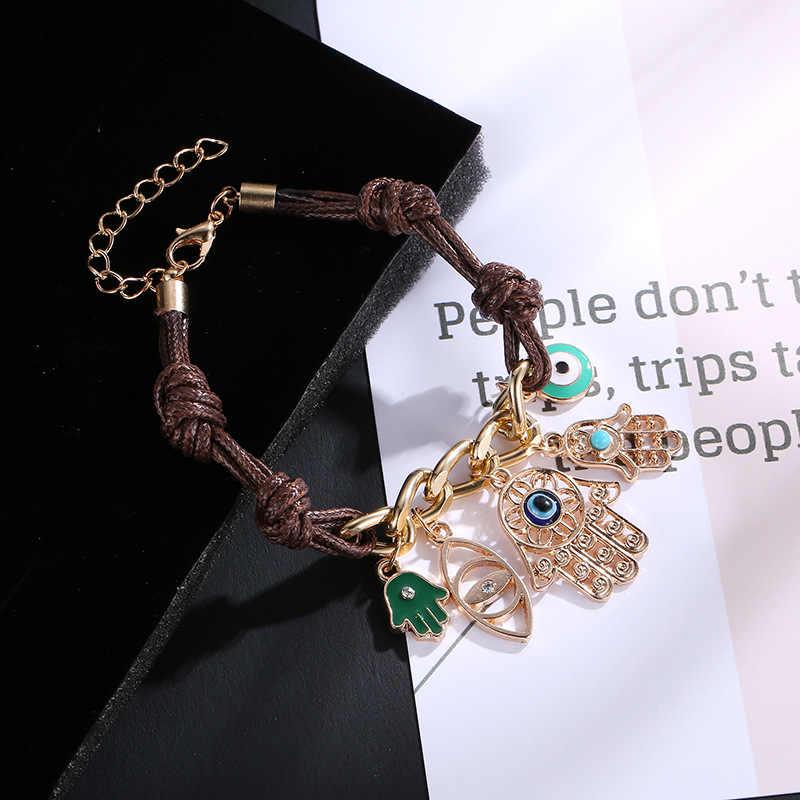 Punk Design Turkish Eye Bracelets For Men Woman New Fashion Wristband Female Owl Leather Bracelet Stone Vintage Jewelry