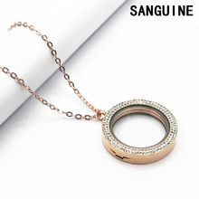 34 mét Miễn Phí Chuỗi Pha Lê Rose Gold Vòng Nổi Lockets Necklace Magnet Glass Living Locket Pendant Necklace Trang Sức Cho Nữ(China)