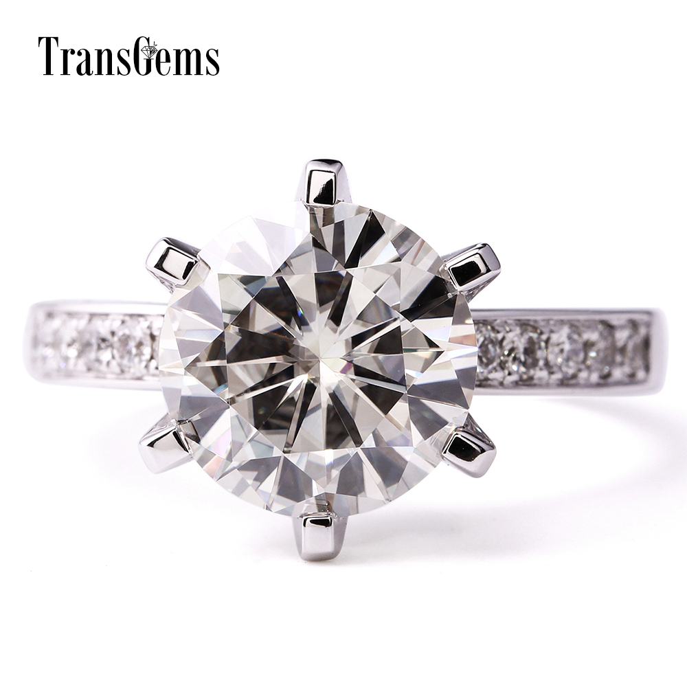 TransGems 14K White Gold 6.0 CTW Carat Lab Grown moissanite Diamond Wedding Engagement Solitaire Ring with accents for Women transgems 1 carat lab grown moissanite diamond band moissanite accents wedding engagement ring solid 14k white gold for men