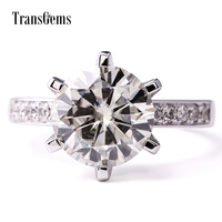 TransGems 6 0 CTW F Colorless Moissanite Wedding Engagement Ring With Moissanite Accents In 14K Whtie