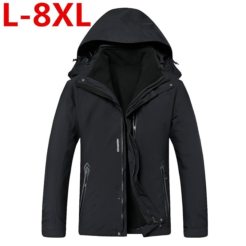 new plus size 8XL 7XL 6XL Men's <font><b>Waterproof</b></font> <font><b>Windpoof</b></font> <font><b>Jackets</b></font> Men thicken 2 in 1 Autumn winter <font><b>Jacket</b></font> Coats Male Brand Clothing image