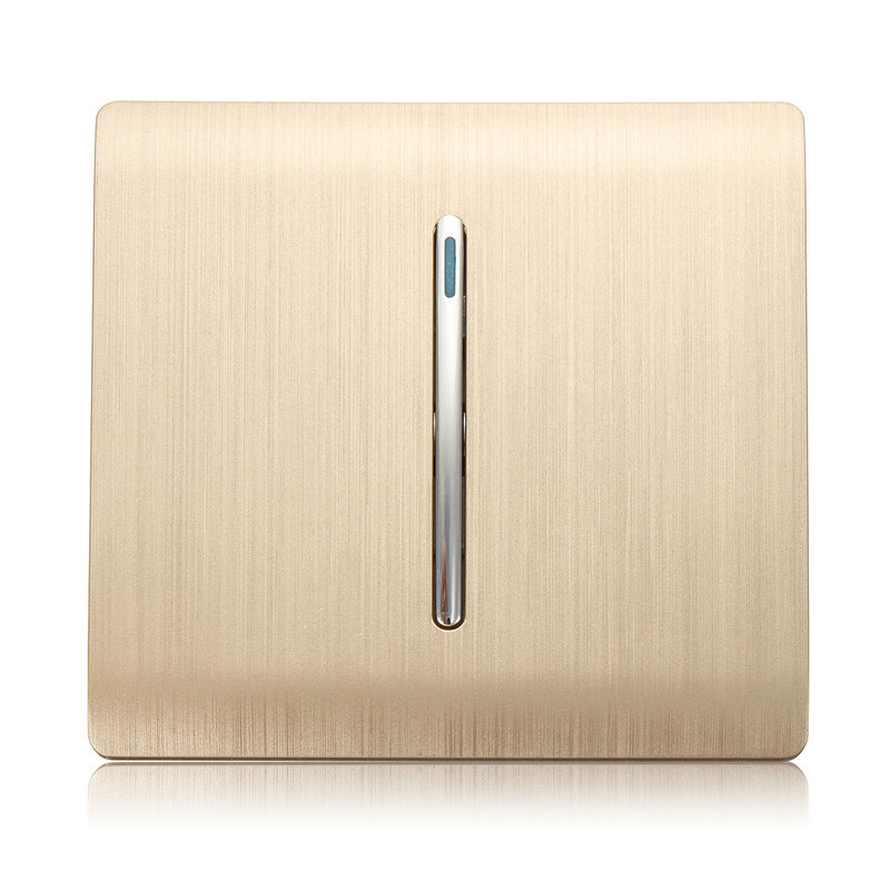 Kempinski Luxury Wall Switch Panel, 1 Gang 1 Way Light Switch, Champagne Gold Color, 110~250V, C31 sereis kempinski wall switch 3 gang 1 way light switch champagne gold color special texture c31 sereis 110 250v popular