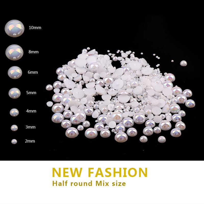 Glitter Crystal AB Nail Art  Rhinestone Imitation Pearls Half Round Flatback Mix Size 3D Decoration Nails Makeup Accessoires