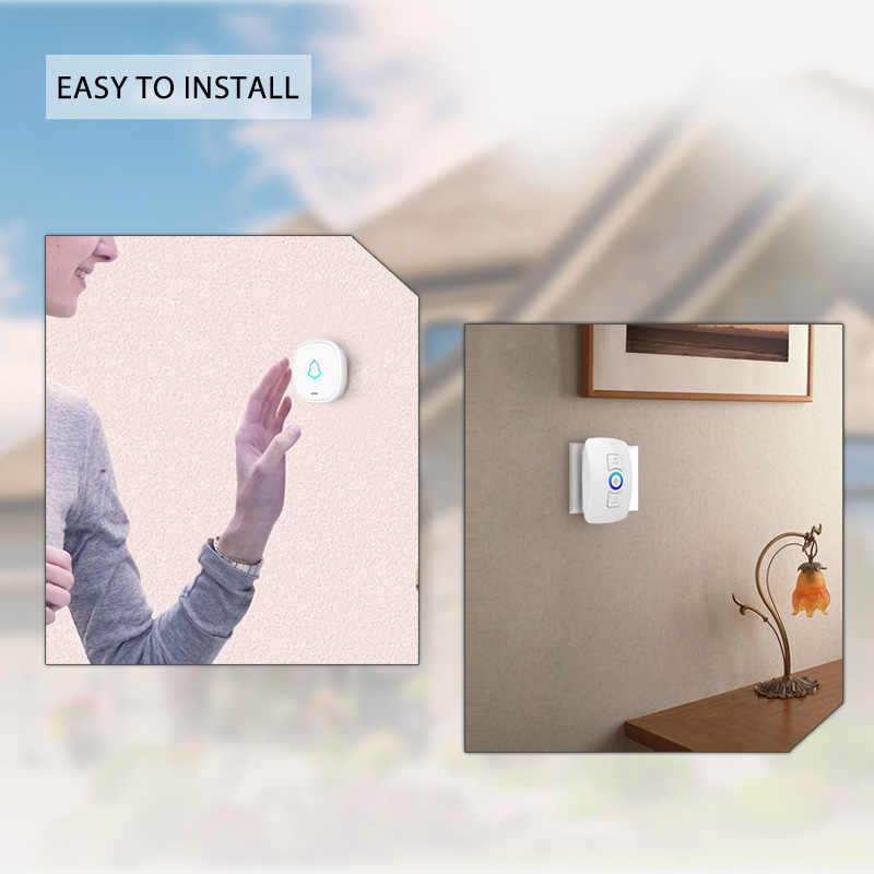 KERUI 32 เพลงไร้สายยาวสมาร์ท Home Doorbell ปุ่มกดกันน้ำสีขาวสีดำ EU AU US UK Plug ประตู Bell