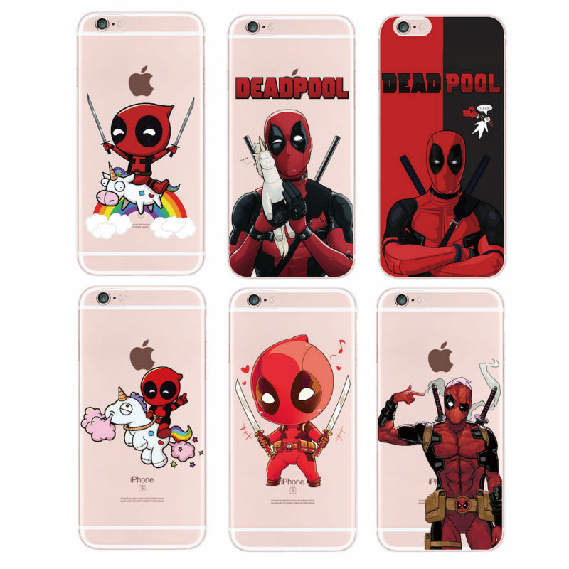 marvel For iPhone 5C SE 4S 5 5S 6 6S 6Plus 7Plus 7 Samsung Deadpool Movie Funny Humor Cartoon Unicroon Soft Phone Case Fundas
