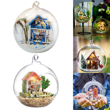 Doll Houses Glass Ball Miniature DIY Dollhouse Casa Model With Funitures Mini Building Kits Christmas Gift