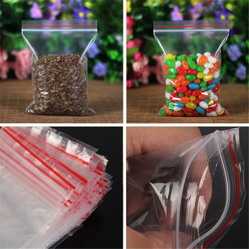 100pcs Clear Bag Plastic Baggy Grip Self Seal Resealable Reclosable Zip Lock Bag For Home Sundries Storages