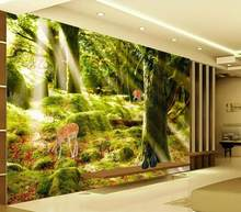 Custom HD 3D Mural Wallpaper Living Room Bedroom HD background wall decorative Big tree sunshine sika deer painting wallpaper(China)