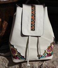Envío libre 2016 del zurriago femenino mochila mochila hecha a mano del bordado femenino satanisms nacional única verdadera mochila de cuero