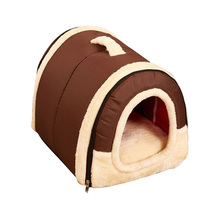 Warm Small Dog Bed House Soft Winter Cat for Puppy Cushion Folding Portable Pet Nest For Cats Products
