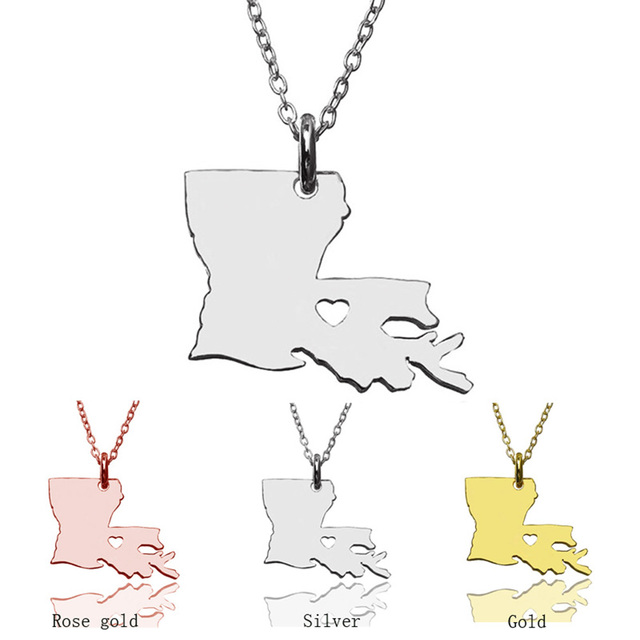 SUTEYI 2017 Outline Louisiana Map Necklace With a Heart USA State