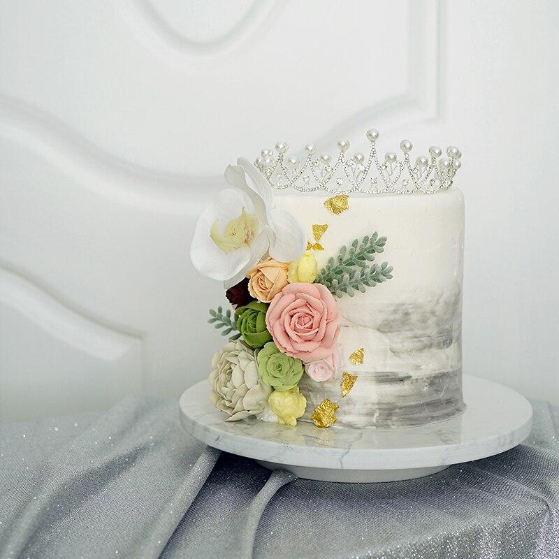 Sweet go plateaux rotatifs de gâteaux en marbre | Outils de décoration, table d'exposition de fondant noir blanc
