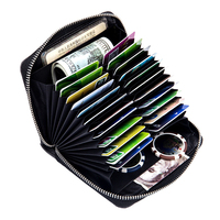 Unisex Real Genuine Leather Zipper Accordion Wallet Multifunctional Small Coin Purse Travel Passport Card Holder Bag