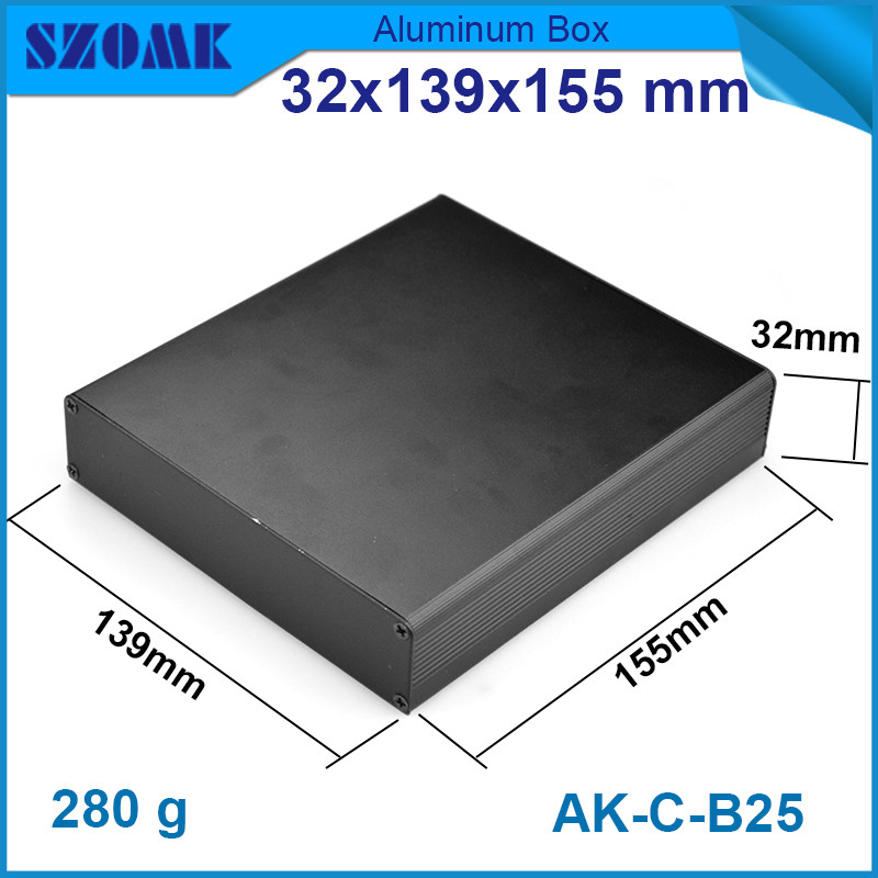 1 piece smooth aluminium extrusion enclosure in black color for electronics metal box 32 139 155mm