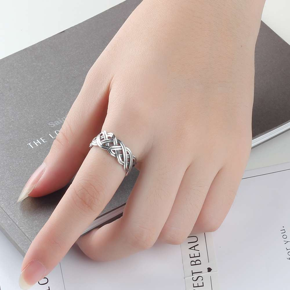 Solid 925 Sterling Silver Rings 7mm Width Lace Weaving Rings For ...