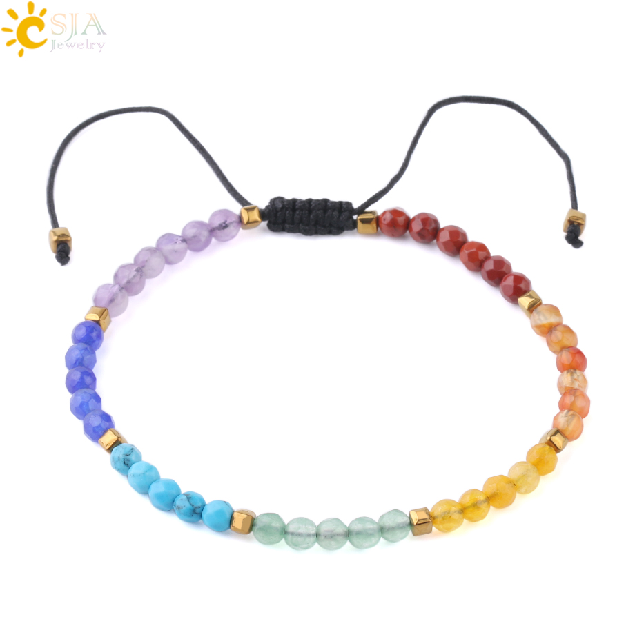 Detail Feedback Questions About Csja Simple Small Beads Bracelets 4mm Natural Stone Chakra Handcrafted Beaded Braided Bracelet Women S Pulseras Jewelry