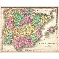 Ölgemälde auf leinwand baumwolle/Chemische faser malerei kern 1827 Fein Karte von Spanien und Portugal