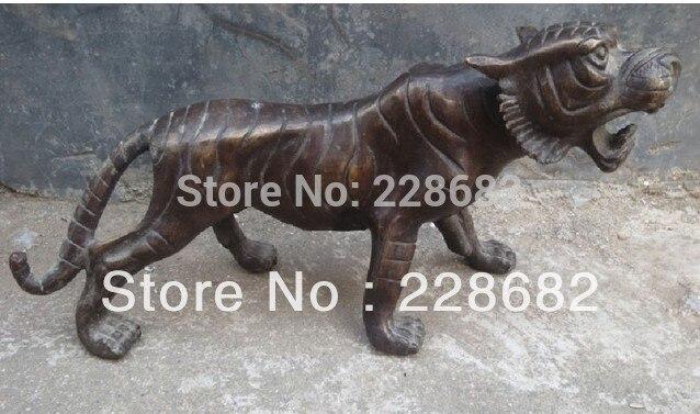 Ev ve Bahçe'ten Statü ve Heykelleri'de Metal El Sanatları Nadir Çin Halk El oyma Kaplan Bakır Heykeller 28*12 cm hızlı Kargo
