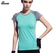 Binand Yoga Female Sports Aerobics Shirt Short Sleeve Shirt Running Breathable Quick Dry Stretch Fitness Yoga Shirt Sportswear