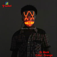 Sound Activated EL Wire Carnival Masks Slit Mouth Cross Eye Mask Neon Glow Light Rope Festival