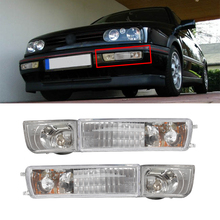 A Pair of Transparent Lens For 1993-1999 Volkswagen Golf Jetta MK3 Front Grille Fog Lights+Turn Signals Combination High Quality