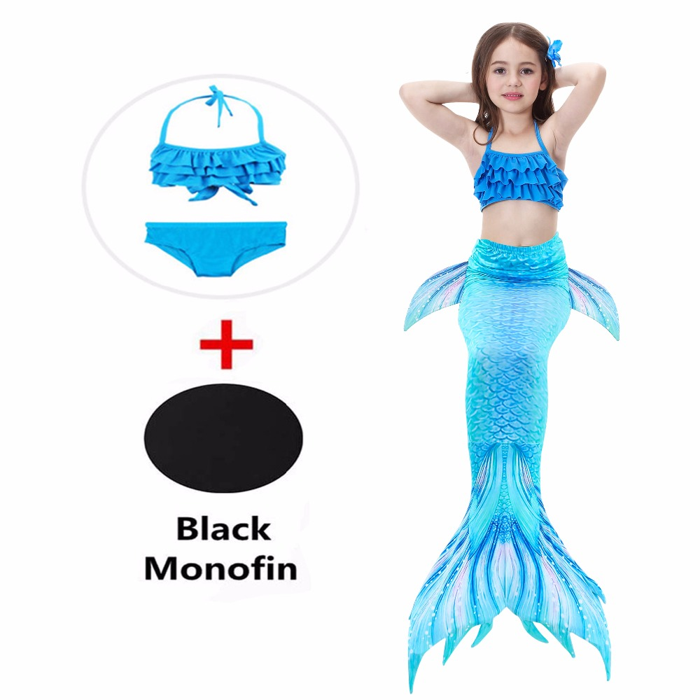 4 piece Kids Blue Mermaid Tail with Monofin Swimming Swimmable Girls Child Mermaid Tail Swimsuit Dres Halloween Cosplay Costume