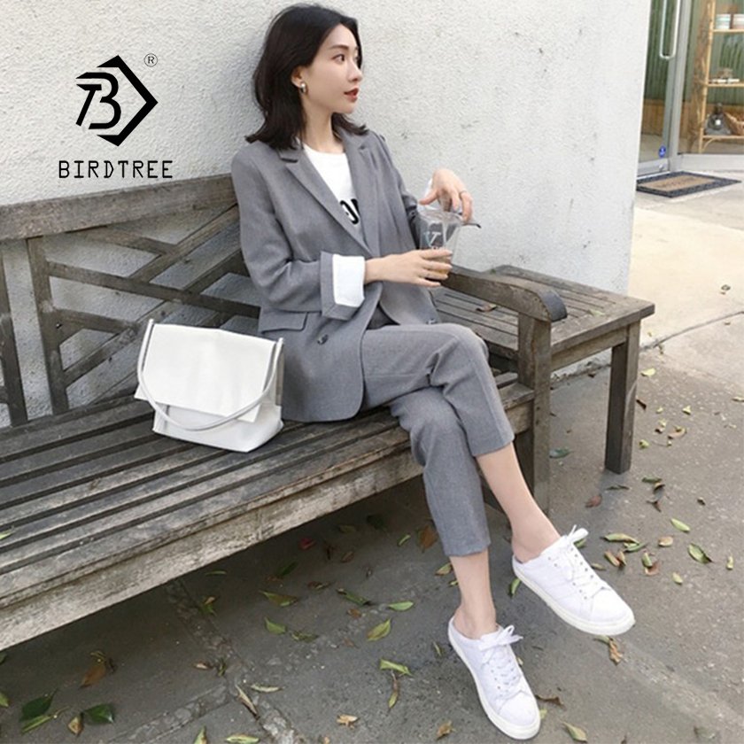 Women Pant Suits Solid Full Sleeve Double Breasted Blazer High Waist Shorts Pants Office Lady Elegant Gray Black 2 Piece Set S94