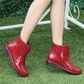 Женщины Мартин Сапоги Галоши и Лодыжки Короткие Трубки Противоскользящие Дождь Сапоги Непромокаемую Обувь Резиновая Обувь Красный Черный Высокое Качество