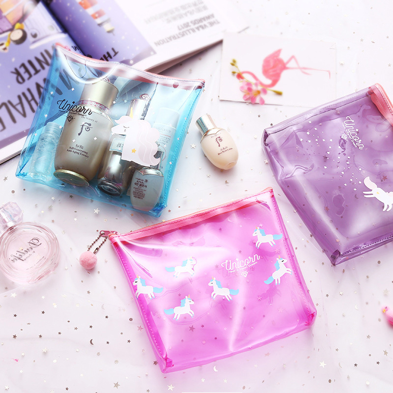 2018 Fashion Women Unicorn Make-up tasje Transparant Waterproof - Home opslag en organisatie
