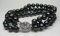 7-8MM 3Strds Black Akoya Cultured Pearl Bracelet 7.5
