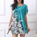 Новый 2016 Т Рубашка Женщин Плюс Размер мини-платье короткое рукавом Свободные Повседневная МАЙКИ Топы мода туника платья полиэстер 4xl 5xl
