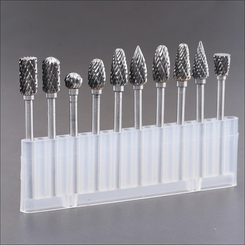 10pcs tungsten carbide burs sets rotary mini drill accessories dremel drill grinding burrs tungsten sharpening drill bits