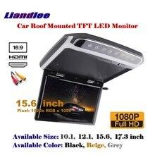 """15.6 """"teto aéreo do carro tft tela led telhado montado monitor flip down display mp5 player/1080p hd tv a cores digitais"""