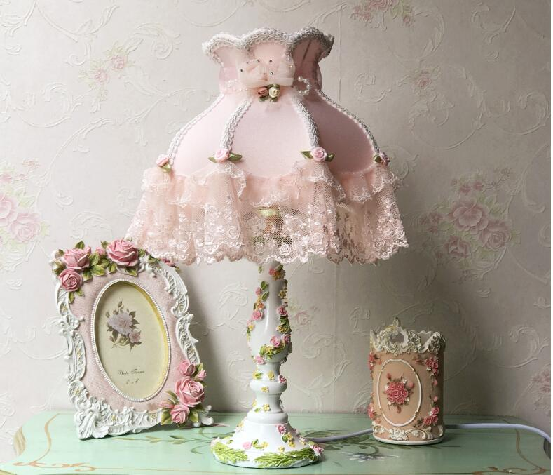8 inch Indoor Bedroom Small Size little Flower Decorating Table Lamps Length 41cm