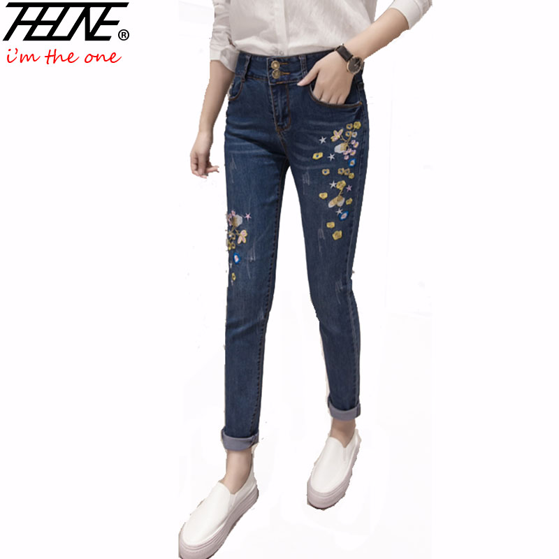 THHONE Skinny Jeans Women Mid Waist Denim Pant Long Trousers Casual Fashion Pencil Pants Femme Stretch Embroidered Jeans Women boyfriend jeans women pencil pants trousers ladies casual stretch skinny jeans female mid waist elastic holes pant fashion 2016