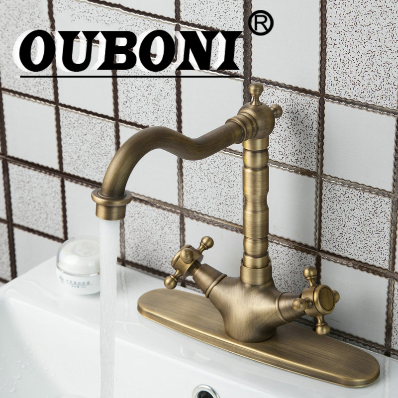 OUBONI Swivel 360 Antique Brass Double Handles Kitchen Tap +Brass Cover Plate +2 Hose Sink Torneiras Cozinha Tap Mixer Faucet stainless steel material double kitchen sink strainer with flexible hose x19028