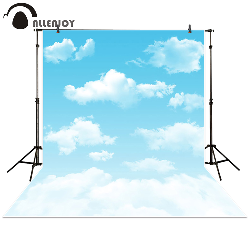 Allenjoy Photography Backdrop cartoon blue sky white cloud newborn baby background props photocall photobooth Photo studio send rolled sunny sky backdrop vintage white cloud blue sky printed fabric photography background f0150