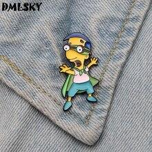 DMLSKY Cute Cartoons Metal Brooches Enamel Pins Shirt  Lapel Pin Brooch Backpack badge Women Dress Hat pin Jewelry M3208